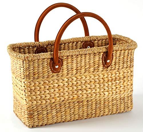 Kobolo Tasche Korbtasche aus Wasserhyazinthe - Lederhenkel - 43x18x26 cm