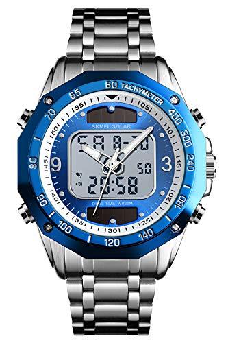 Herrenuhr Edelstahl Analog Digital Silber Schwarz Wasserdicht Multifunktional LED Hintergrundbeleuchtung Quarz Uhr Männer Business Kleid Armbanduhr