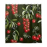 Duschvorhang mit Tomaten-Muster, Polyestergewebe, wasserabweisend, Duschvorhang für Badezimmer, Badewannen, dekorativ, 168 x 182 cm (B x L)