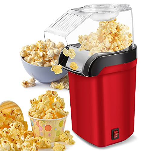 Hot Air Popcorn Popper Machine,1200W Home Electric Popcorn Maker with Measuring Cup,3 Min Fast...