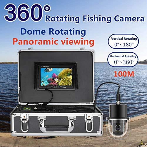 HBFFL 7 Inch Underwater Fishing Video Camera Fish Finder IP68 Waterproof 20 LEDs 360 Degree Rotating Dome Rotating Panoramic Viewing Camera,100M
