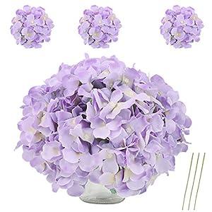 VINFUTUR Flores Artificiales Hortensia Violeta de Seda, 10pcs Ramos de Flores Artificiales Decorativas de Jarrón Mesa…