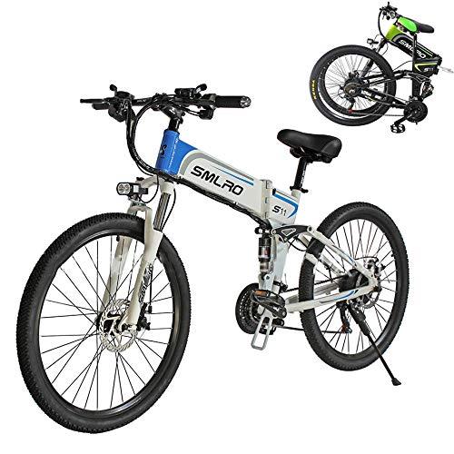 SXZZ Bicicleta Eléctrica De Montaña, E- Bike Plegable De 26 Pulgadas, Batería De Litio De Carga Extraíble De 350 W / 48 V, Suspensión Completa Avanzada Y Engranaje De 21 Velocidades Shimano,Azul