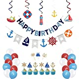 PRATYUS Nautical Birthday Party Decorations for Boys Girls Adults Anchor Sailboat Theme Party Supplies With Sailing Swirls, Nautical Banner and Cake Topper