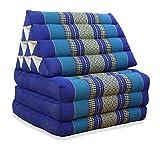 livasia Thaikissen mit 3 Auflagen, Kapok Dreieckskissen, Sitzkissen, Liegematte, Thaimatte (blau)