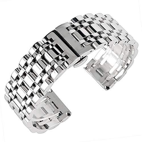 Love+djl Bracelets de montre Luxus Silber 20/22 / 24mm massiv Edelstahl Armband Push Button versteckte Haken Adjustable Männer Uhren Bügel ersetzen Armband (Band Width : 24mm)