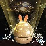 「令和アップグレード版」オルゴールプロジェクター スターナイトライト ブルートゥーススピーカー 星空360度回転6種類投影映画 間接照明 ランプカラフルな点滅スターキッズベビーギフトクリエイティブギフト誕生日プレゼント(リモコン) (Bluetooth)