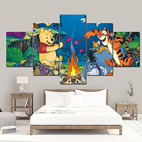 CVBGF 5 impresiones artísticas,Barbacoa de cachorros y tigger/ Imágenes, carteles e impresiones artísticas modernas de alta definición, tamaño del marco: 150 * 80 cm
