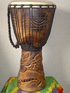 """20"""" Handmade Deep Carved Djembe Bongo Drum DRAGONS with Free Cover, Model # 50M21"""
