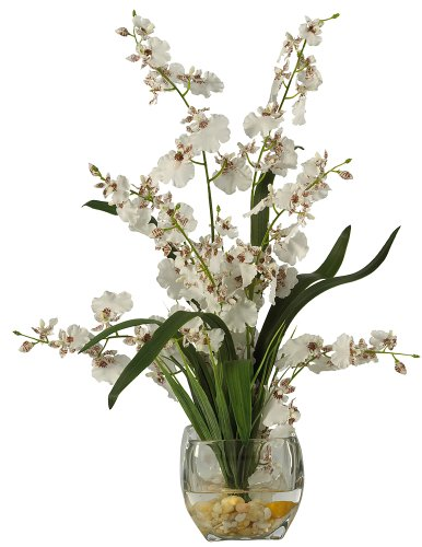Nearly Natural 19in. Dancing Lady Orchid Liquid Illusion Silk Flower Artificial Arrangement, White