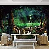 Fototapete Sumpfkarikatur-Waldwasserfall Moderne Wanddeko Design Tapete Wandtapete Wand Dekoratio TV Hintergrundwand 450x300 cm