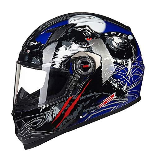 (Blue Wolf) Casco abatible para Moto ECE | Casco Modular de Choque de Motocicleta para Scooter-XXXL