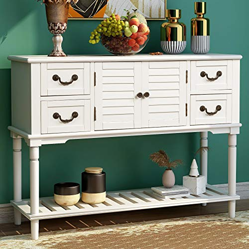 Merax Console Table Buffet Table Sideboard Rustic Cabinet with Shutter Doors & 4 Storage Drawers for Entryway Sofa Table (White)