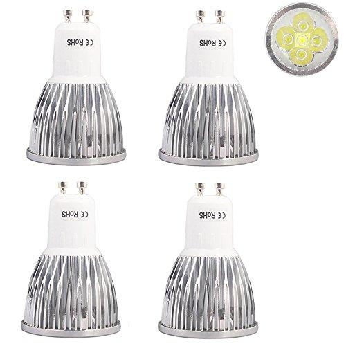 GU10 Lampadina a LED, 5 X 1 W LED Chip di Dimmable 5 W alogena da 50 W, BIANCO FREDDO 6000-6500 K, 520lm, LED, lampadine a LED, Ø 48 X 70 mm AC 220V 230V, Confezione da 4