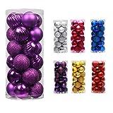 Unicoco - Lote de 24 bolas de Navidad irrompibles, 40 mm, oro