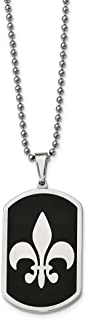 Stainless Steel Black-plated w/Fleur de lis Dog Tag Necklace