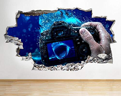 Wall Stickers Camera Underwater Shark Wall Decals Pattern Decoration Children Bedroom Ornament 20x27inch(50x70cm)
