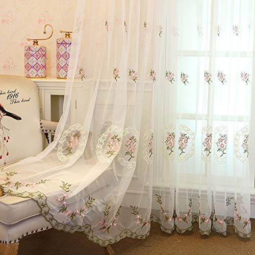 AiFish Lace Sheer Curtains 63 Inch Long for Princess Girls Room-Rod Pocket Embroidered Rustic Floral Window Treatment Gauze Drapes/Voile/Tulle/Yarn Curtains for Bedroom 1 Piece Pink W39 x L84 inch