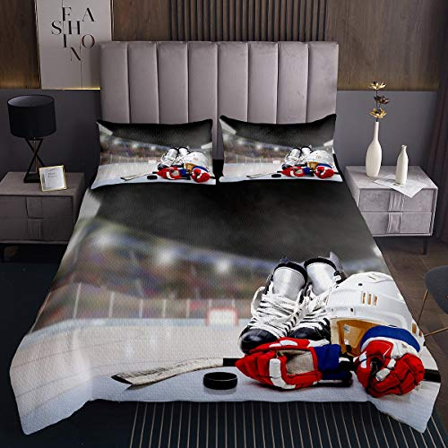 Feelyou Ice Hockey Bedspread Hockey Player Quilted Coverlet for Kids Boys Girls Teens Ultra Soft Sports Theme Coverlet Set Microfiber Winter Sports Hobby Bedding Collection 2Pcs Twin Size