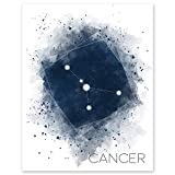 Cancer Star Constellation - Zodiac Wall Art Print -11 x 14 Unframed Watercolor Astrology Sign - Horoscope - Ideal Gift for June-July Birthdays