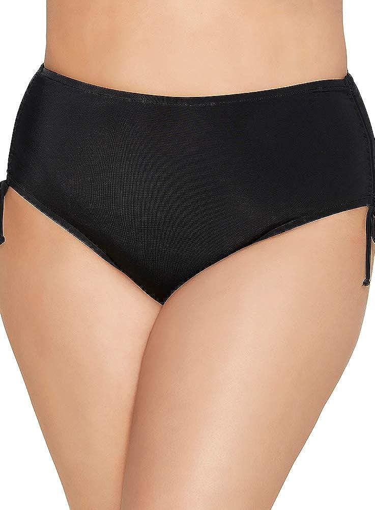 Caribbean Joe Women's Plus Size Swimwear Adjustable Side Swim Brief Full Coverage Bathing Suit Bottom