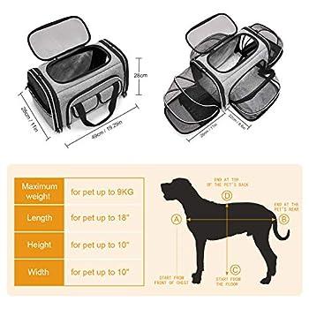 ESTARER Sac de transport pliable pour chat et petit chien en voiture, avion ou train