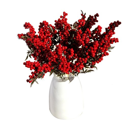 Kolylong - Ramo de 5 flores artificiales, diseño navideño de frutos del bosque, bayas