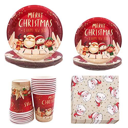 68 piezas de vajilla para fiestas de Navidad, suministros para fiestas de Navidad, platos de papel, vasos de papel y servilletas a granel (para Navidad)