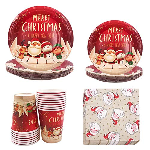 INTVN 68 PCS Feste di Natale Articoli per la tavola di Compleanno, Include Piatti di Carta, tovaglioli,Bicchiere di Carta, Feste Natalizie a Tema Natalizio