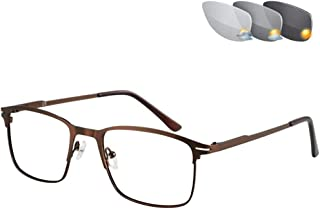 Photochromic Leesbril, Transition Zonnebril Leesbril Metalen Frame Rechthoek Style HD Lens 1,56 Refractive Index,Brown,+3.0