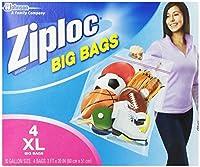 ジップロック ビッグバッグ ダブルジッパー 防水バック 大きい サイズ Ziploc Big Bag Double Zipper (X-Large(60cm×51cm) 4枚入り) [並行輸入品]