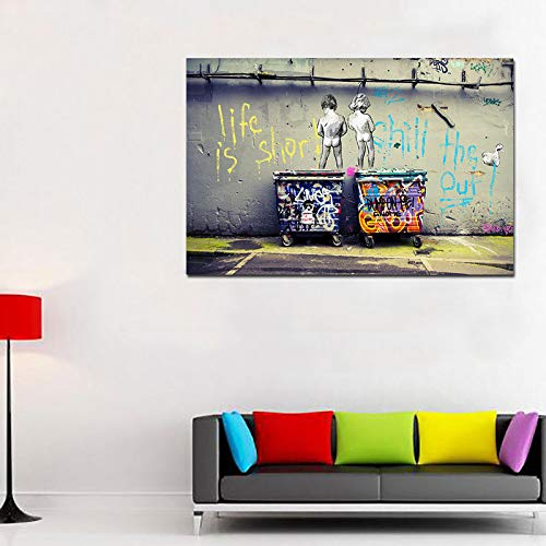 Faicai Art Banksy Graffiti Art Wall Art Canvas Paintings HD Printed Abstract Street Art Posters and Prints Life is Short Chill The Duck Out Pop Art Printings Modern Wall Decor Wooden Framed 32'x48'