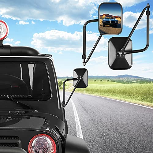 Esright Jeep Mirrors JK JL TJ YJ CJ, Rectangular Adventure Door Hinge Mirrors, Easy-Install JEEP Mirror Side View Improved Design Quickly Install&Shake-Proof Door for all Jeep Wrangler