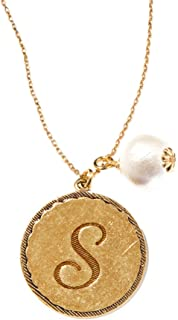 John Wind Sorority Gal Gold-Toned Initial Necklace with Pearl, 18