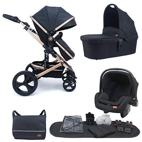 Pixini Kalani - Cochecito 3 en 1, incluye capazo, cochecito y asiento de coche para bebé, bolso cambiador, portavasos y protector de lluvia en color dorado y negro