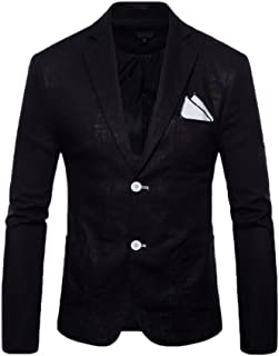 Runyue Mens Casual Cotton Blend Two Buttons Blazer Jacket Solid Color Suits Coat