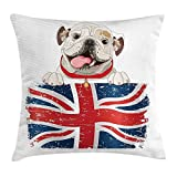 N/A English Bulldog Throw Pillow Cushion Cover, Happy Pet Bulldog Holding a Union Jack Flag of The Great Britain, Decorative Square Accent Pillow Case, 18 X 18 Inches, Cream Navy Blue Red