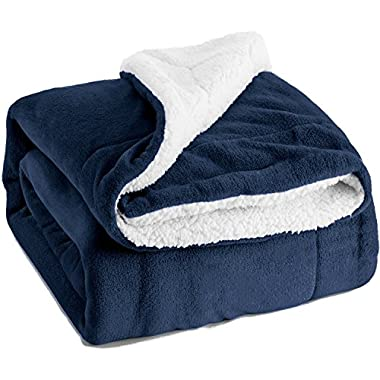 Bedsure Sherpa Throw Blanket Navy Blue 50 x60  Reversible Fuzzy Bed Throws Microfiber All Seasons Luxury Fluffy Blanket for Bed or Couch by