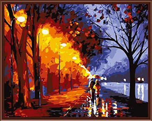 CHAYAYY Digitales Ölgemälde im europäischen Stil handgemaltes dekoratives Ölgemälde-Gehen im Regen 40 * 50cm Abstrakte Malkunst des Künstlers der modernen Hauptdekoration