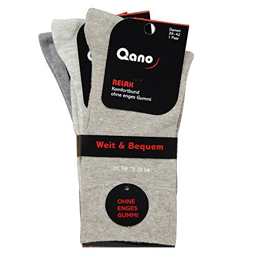 Qano Relax klassische Damen Business & Freizeit Socken ohne enges Gummi Beige/Grautöne (39-42, beige, grau)