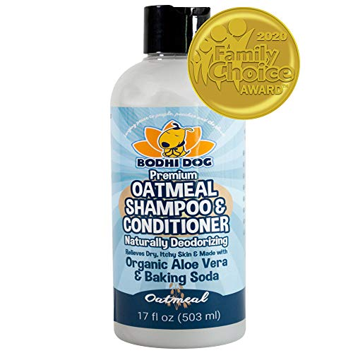 Organic All Natural Oatmeal Dog Shampoo and Conditioner | Hypoallergenic Conditioning Deodorizing Formula for Dogs Cats & Pets | Treatment Wash Soothes Dry Itchy Skin | Aloe for Allergy Relief