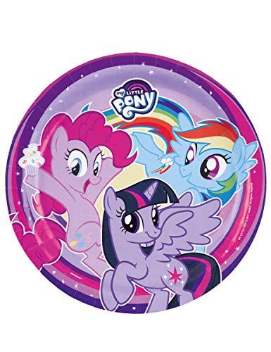 COOLMP – Juego de 12 – 8 platos de cartón My Little Pony 23 cm – Tamaño único – Decoración Accesorios de fiesta, Animación, cumpleaños, boda, evento, juguete, globos
