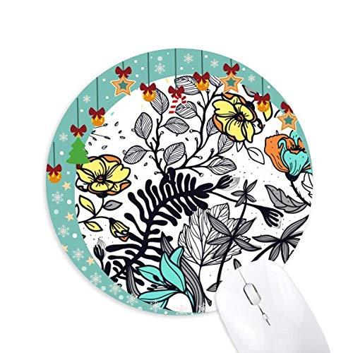 Moderne Kunst Camellia Blumen Pflanzen Zeichnung Maus Pad Jingling Bell Rund Gummi Mat