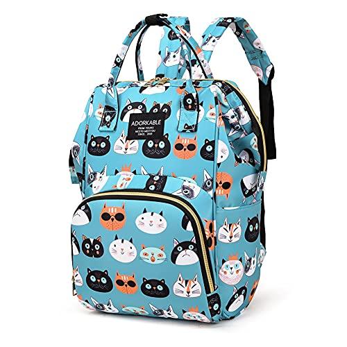 WANGQI Mochila para pañales de bebé, bolso cambiador, mochila para bebé, bolso de bebé, bolso de moda para mujer, bolsa para pañales con función de bolso de pañales, Green Cats, Green cats