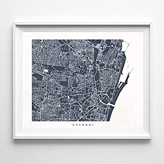 Chennai India Street Road Map Home Decor Poster Urban City Hometown Wall Art Print - 70 Color Options - Unframed