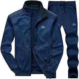 Men's Casual Tracksuit Long Sleeve Full Zip Running Jogging Sweatsuit Athletic Sports Set