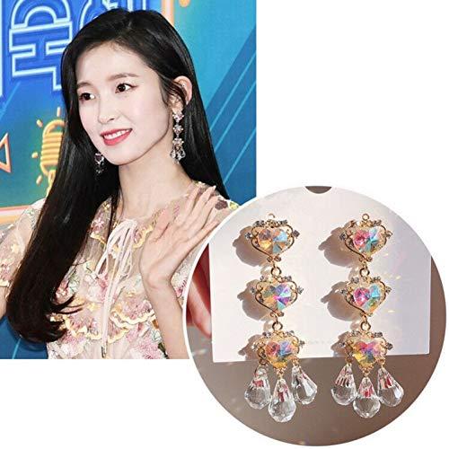JINGM Boucles d'oreilles en Forme De Coeur en Zircon Coloré Brillant pour Femmes Gland Cristal Cadeaux Longs Et Vintage