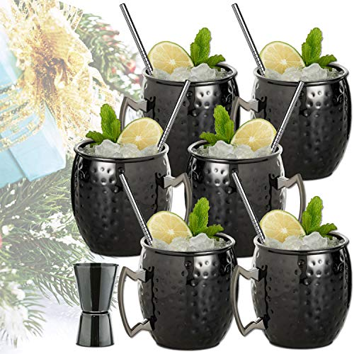 Moscow Mule Mugs- Set of 6 Black Plated 18oz Stainless Steel Mug Double Jigger Chilled Drink Cocktail Mug (Black 6pcs)