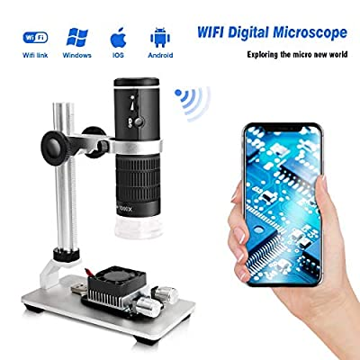 Cainda WiFi Digital Microscope for iPhone Android Phone Mac Windows, HD 1080P Video Record 50-1000X Magnification Wireless Portable Microscope with Adjustable Metal Stand and Carrying Bag