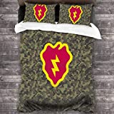 LZMM Hojas 25th Infantry Division 3 Pieces Bedding Set Duvet Cover for Full Twin Size Bed Ultra Soft Breathable for Bedroom 2 Piece Pillow Cover and Duvet Cover